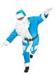 funny pose of blue santa claus