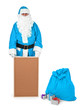 Blue santa claus shows empty bulletin board