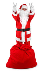 Funny santa isolated on white