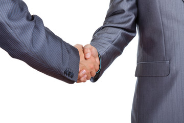 Two businessmen hands handshake isolated over white