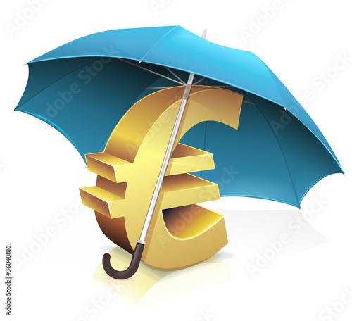 Mettre l'euro en sécurité sous un parapluie bleu