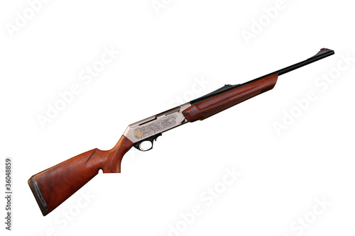 new hunting rifle with engraving isolated on white