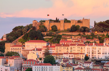 castle  Sao Jorge at sunset in Lisboa, Portugal