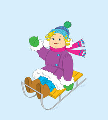 The cheerful girl on a sledge.