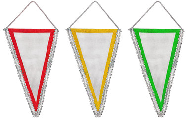 Stylish office bright red yellow and green pennants or flags set
