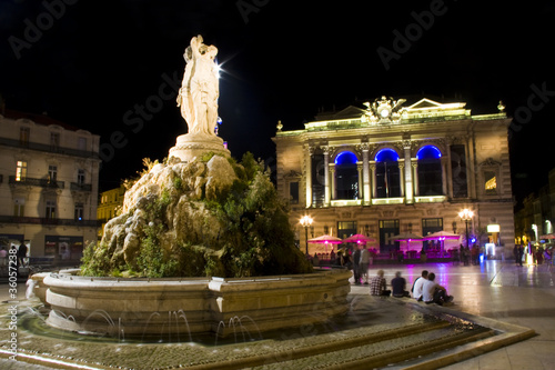 Place de la Comedie and Trois Graces at night in Montpellier