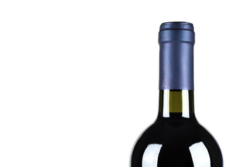 Bottle of fine Italian red wine, white background