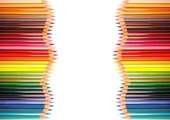 Quadro di matite su sfondo bianco