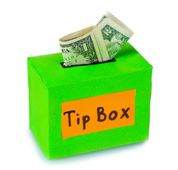 Tips box for money isolated on white
