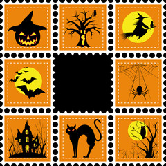 Halloween illustration set of stamp