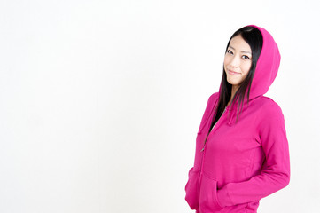 attractive asian woman wearing parka