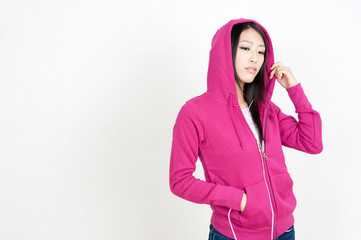 attractive asian woman listening music