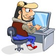 Cartoon man typing on keyboard, looking at laptop screen.