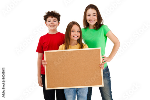 Kids holding noticeboard isolated on white background