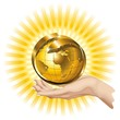 Globo Oro in Mano-Hand Holding a Golden Globe-Vector