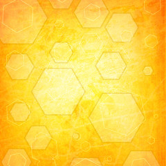 orange hexagon on a grunge