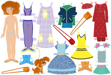 paper doll named Katie and summer clothes for her