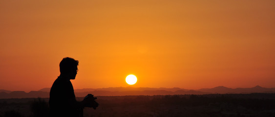 Arabian desert with Sunrise UAE