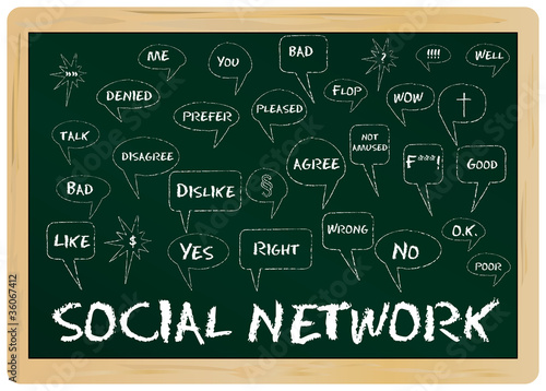 Social network concept, on chalkboard