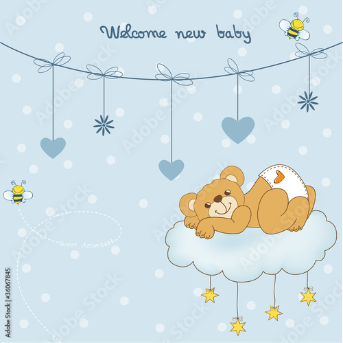 New baby shower card with spoiled teddy bear
