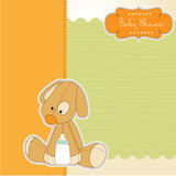 Fototapety baby shower card with puppy toy