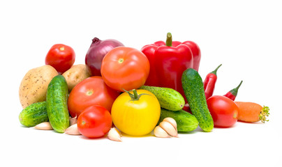 set fresh vegetables on a white background