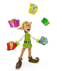 elf the santa helper cartoon in playing wiht gifts crazy circle