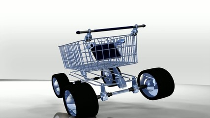 3D cart e-commerce shopping delivery animation