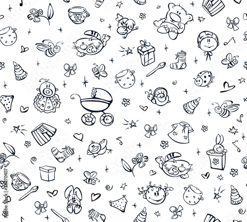 Seamless cute pattern of baby stuff.