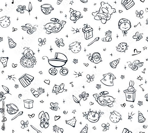 Seamless cute pattern of baby stuff.