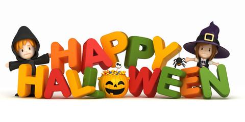 3D render of kids in halloween costume and word