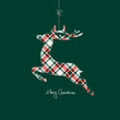 Hanging Reindeer Checked Pattern Red/Green Background