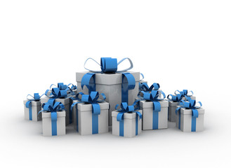 Gifts - many presents  on white