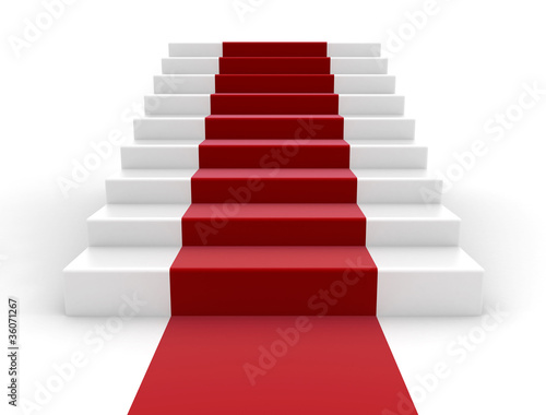 Staircase and red carpet