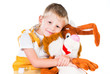 little boy with a toy rabbit isolated on white background