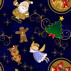 Christmas blue background seamless contours gold