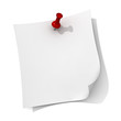 White note paper with red push pin