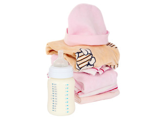 clothing and baby milk bottle