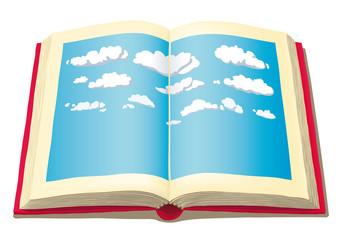libro aperto con cielo