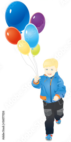 Little boy running with balloons