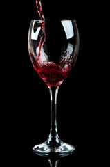 wine poured into a glass