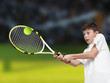 Boy plays tennis