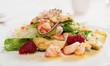 Elegant appetizer with shrimps and lettuce