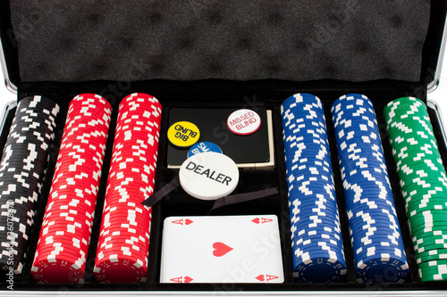 Poker set with chips, cards and buttons