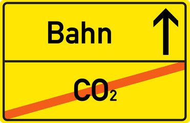 Schild Bahn CO2