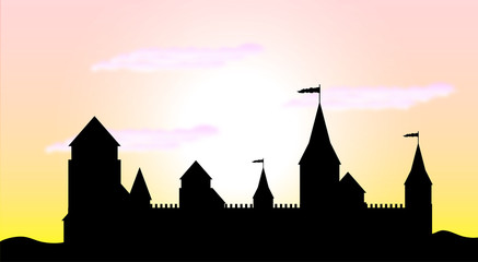 Silhouette of the castle at sunrise