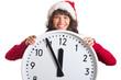 Weihnachtsfrau hält große Uhr in den Händen