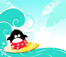 Cute Penguin Surfing With Joy