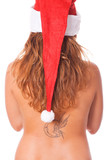 Back View of Topless Woman with Santa Hat