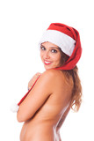 Sexy Topless Woman with Santa Hat